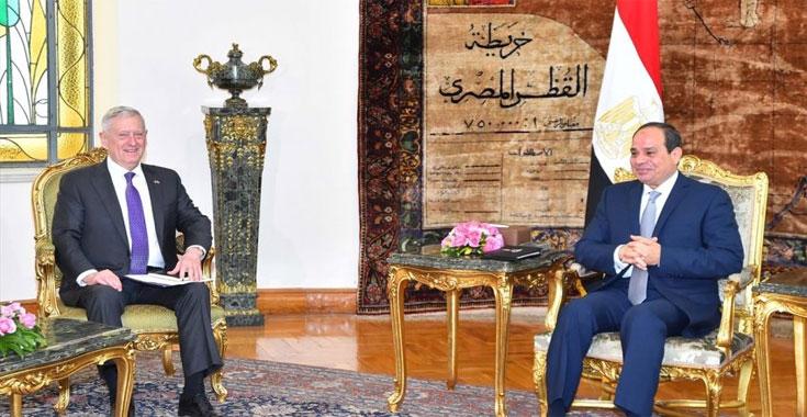 السيسي يبحث التعاون العسكري مع وزير الدفاع الأمريكي